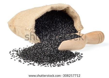 black sesame in the sack, (large depth of field, taken with tilt shift lens) - stock photo