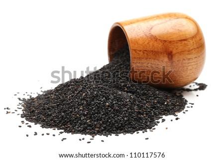 Black sesame on white background - stock photo