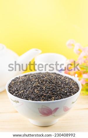 Black Sesame (Sesamum orientale L.) - stock photo