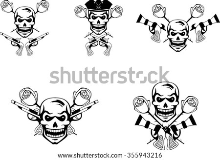 Black set of pirate emblems with skulls and guns