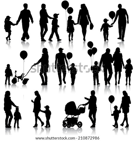 Black set of silhouettes of parents and children on white background.  illustration.