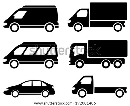 black set transport icons on white backdrop - stock photo