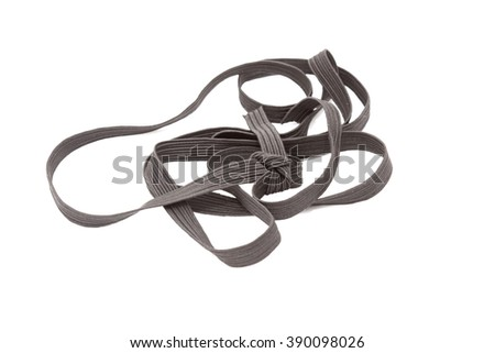 black sewing elastic band on a white background  - stock photo