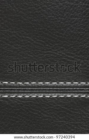 Black sewing leather with white thread, See my portfolio for more - stock photo