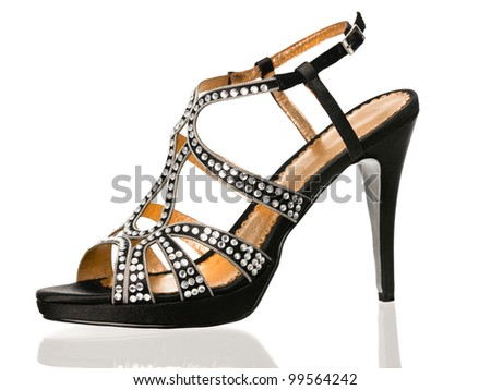 Black sexy high heels shoe side view on white background - stock photo