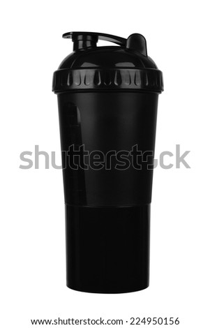 Black shaker for sports food and vitamins isolated white background - stock photo
