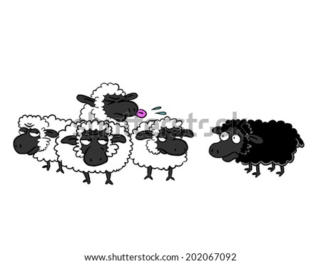 Black sheep and group of white sheep - stock photo