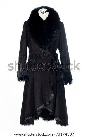 Black sheepskin coat with fur. Isolated on white background