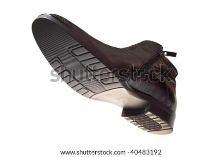 black shiny man's shoe  isolated on white background - stock photo