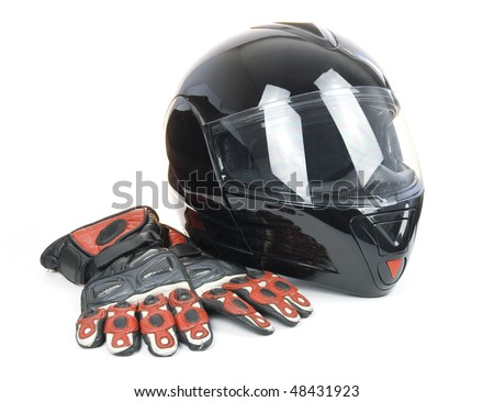 Black, shiny motorcycle helmet and leather biker gloves Isolated on white background - stock photo