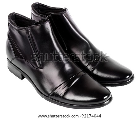 Black shoes isolated on the white background - stock photo