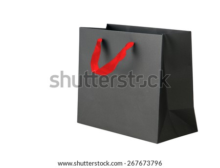 Black shopping bag on white. - stock photo
