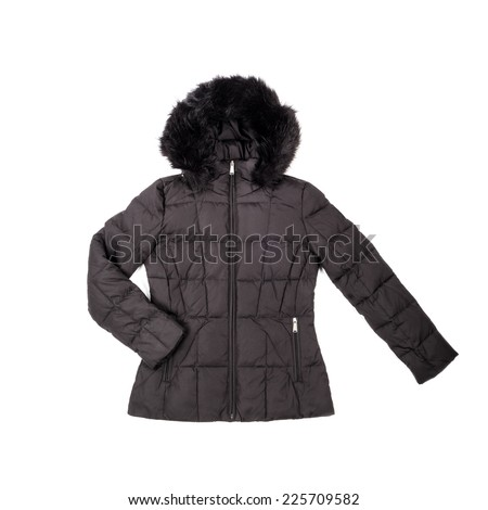Black Short Down Filled Winter Coat Isolated on White - stock photo