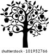 Black silhouette apple tree isolated on White background. Illustration - stock vector