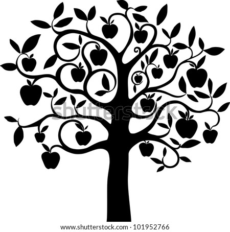 Black silhouette apple tree isolated on White background. Illustration - stock photo