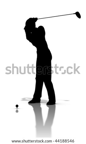 black silhouette of a golfswing with driver in the end of backswing position