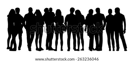black silhouette of a large group of young couples standing in different postures - stock photo