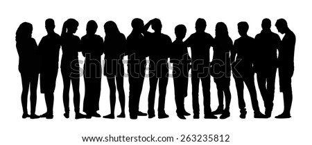 black silhouette of a large group of young people talking standing in different postures - stock photo