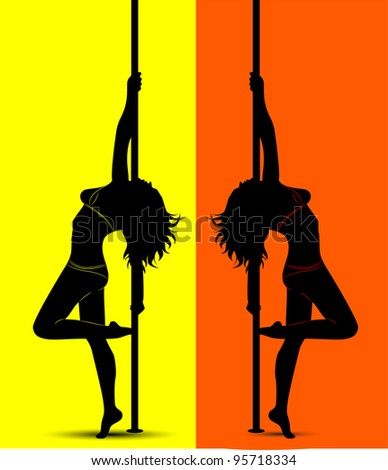 black silhouette of a sexy girl dancing with a pole - stock photo