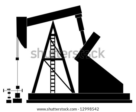 black silhouette of an oil pump -  illustration