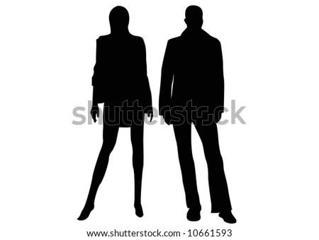 black silhouette of couple standing - stock photo