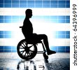 black silhouette of disabled on wheelchair - stock photo