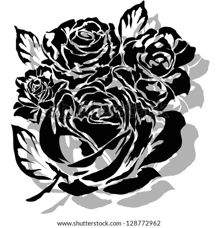 Black silhouette of rose  illustration.