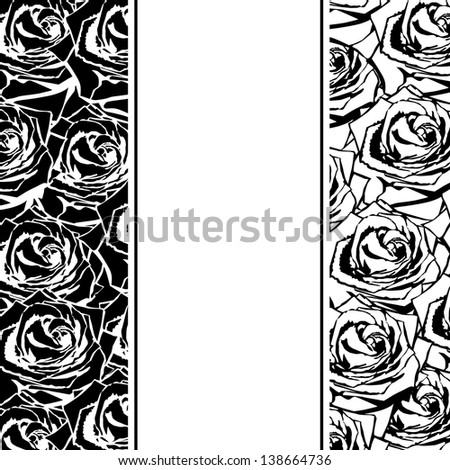 Black silhouette of rose with leaves. - stock photo