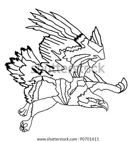 black white fantasy wolf dog wings stock vector 182023151 shutterstock. Black Bedroom Furniture Sets. Home Design Ideas