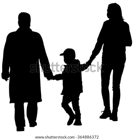 Black silhouettes Family on white background. illustration.