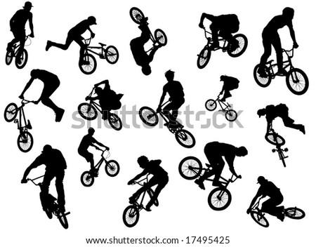 Black Silhouettes Bmx Mtb Riders Ilustración de stock17495425 ...