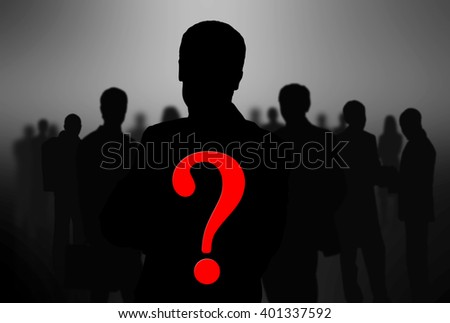 black silhouettes of business people - stock photo