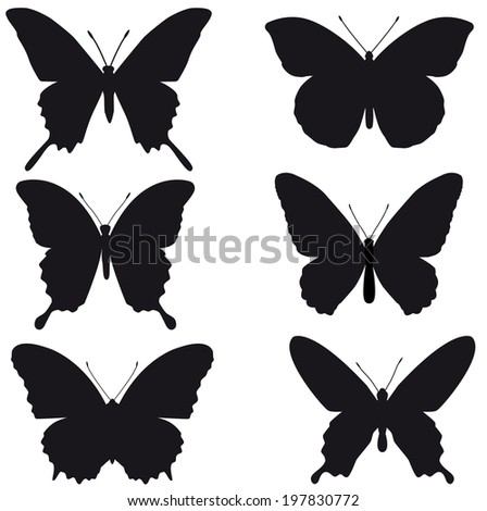 Black silhouettes of butterflies on white background - stock photo