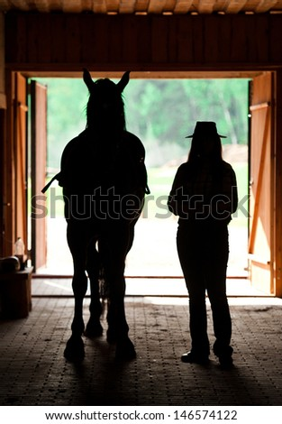 Black silhouettes of horse and cowgirl inside of stable - stock photo