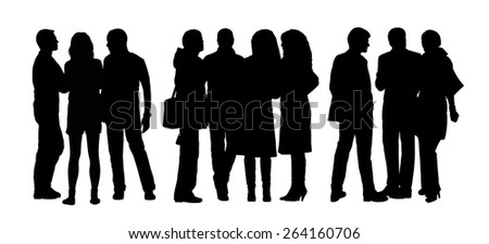 black silhouettes of three groups of different men and women standing and talking to each other - stock photo