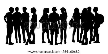 black silhouettes of three groups of different teen people standing and talking to each other - stock photo