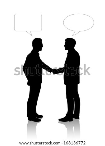 black silhouettes of two young businessmen shaking their hands, vacant text bubbles above them - stock photo