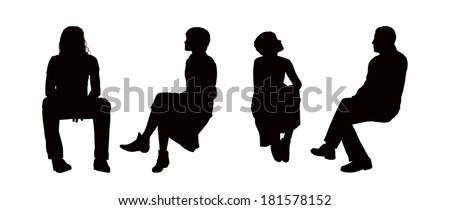 black silhouettes of young men and women seated outdoor in different postures, front, back and profile views - stock photo