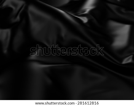 Black Silk Cloth Abstract Background. 3d Render Illustration - stock photo