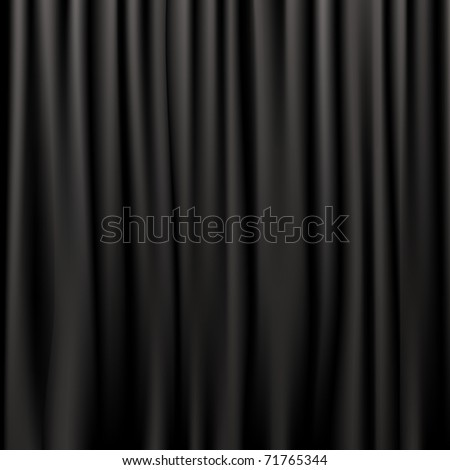 Black Silk Curtains - stock photo