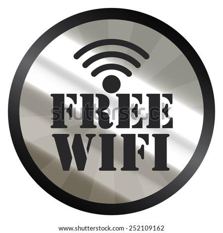 black silver metallic circle free wifi sticker, icon, label isolated on white - stock photo