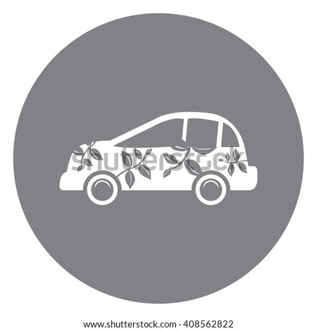 Black Simple Circle Eco Car Infographics Flat Icon, Sign Isolated on White Background - stock photo