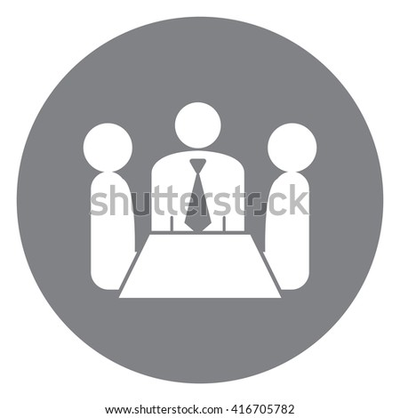 Black Simple Circle Group of Businessman Meeting, Discussion Flat Icon, Sign Isolated on White Background - stock photo