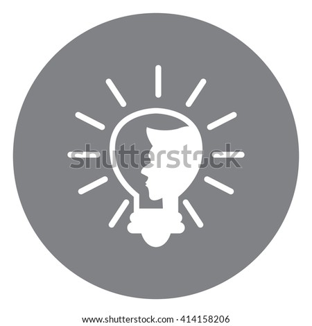 Black Simple Circle Light Bulb With Head Infographics Flat Icon, Sign Isolated on White Background - stock photo
