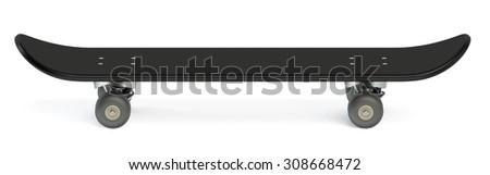 black skateboard isolated on white background - stock photo
