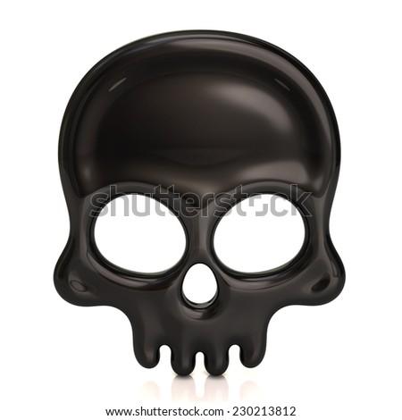 Black skull icon - stock photo