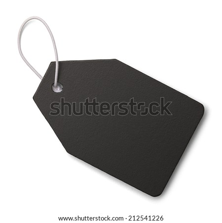 Black Slate Tag with Copy Space Isolated on White Background. - stock photo
