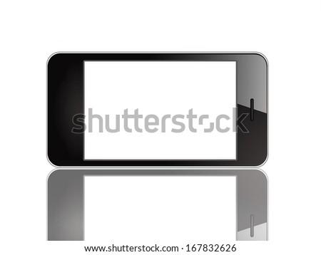Black smart phone horizontal - stock photo