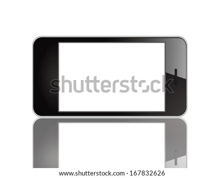 Black smart phone similar to iphone set horizontal - stock photo