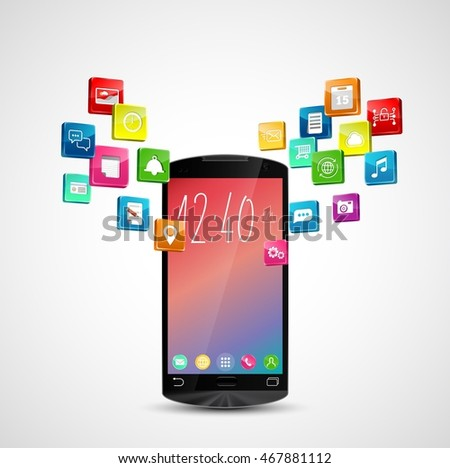 Black smart-phone with application icons on white background. 3d illustration